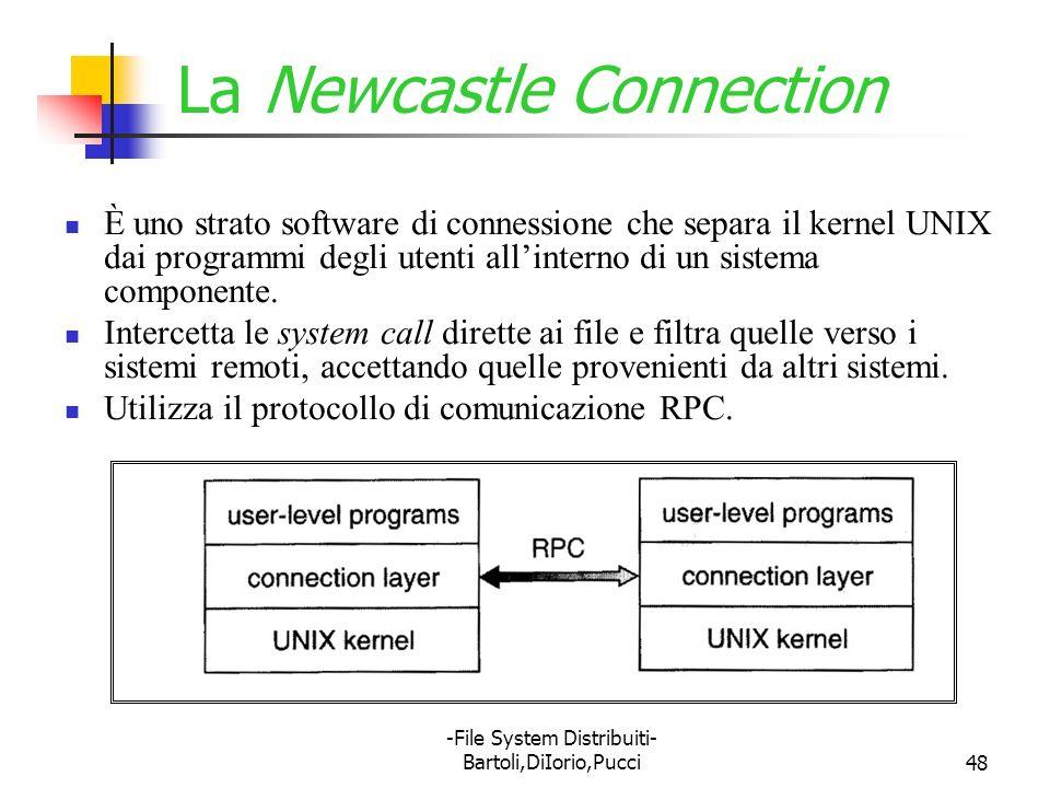 -File System Distribuiti- Bartoli,DiIorio,Pucci48 La Newcastle Connection È uno strato software di connessione che separa il kernel UNIX dai programmi