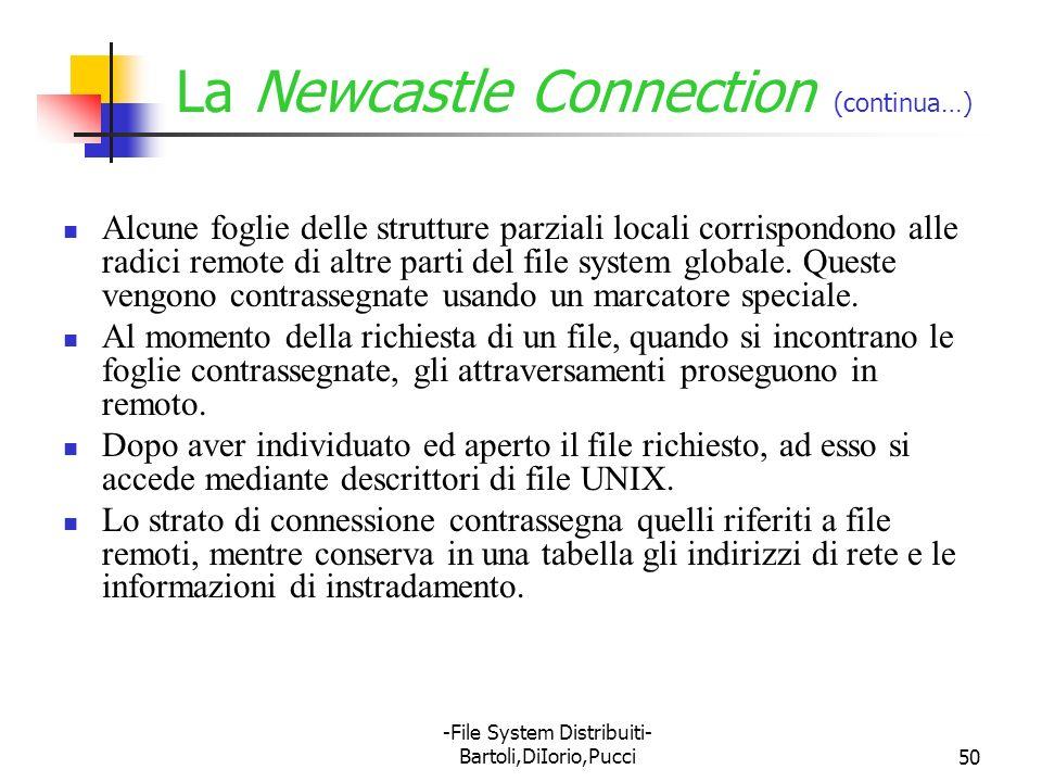 -File System Distribuiti- Bartoli,DiIorio,Pucci50 La Newcastle Connection (continua…) Alcune foglie delle strutture parziali locali corrispondono alle