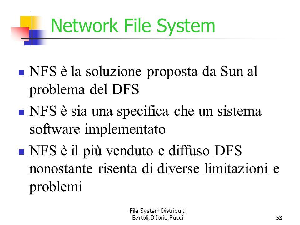 -File System Distribuiti- Bartoli,DiIorio,Pucci53 Network File System NFS è la soluzione proposta da Sun al problema del DFS NFS è sia una specifica c