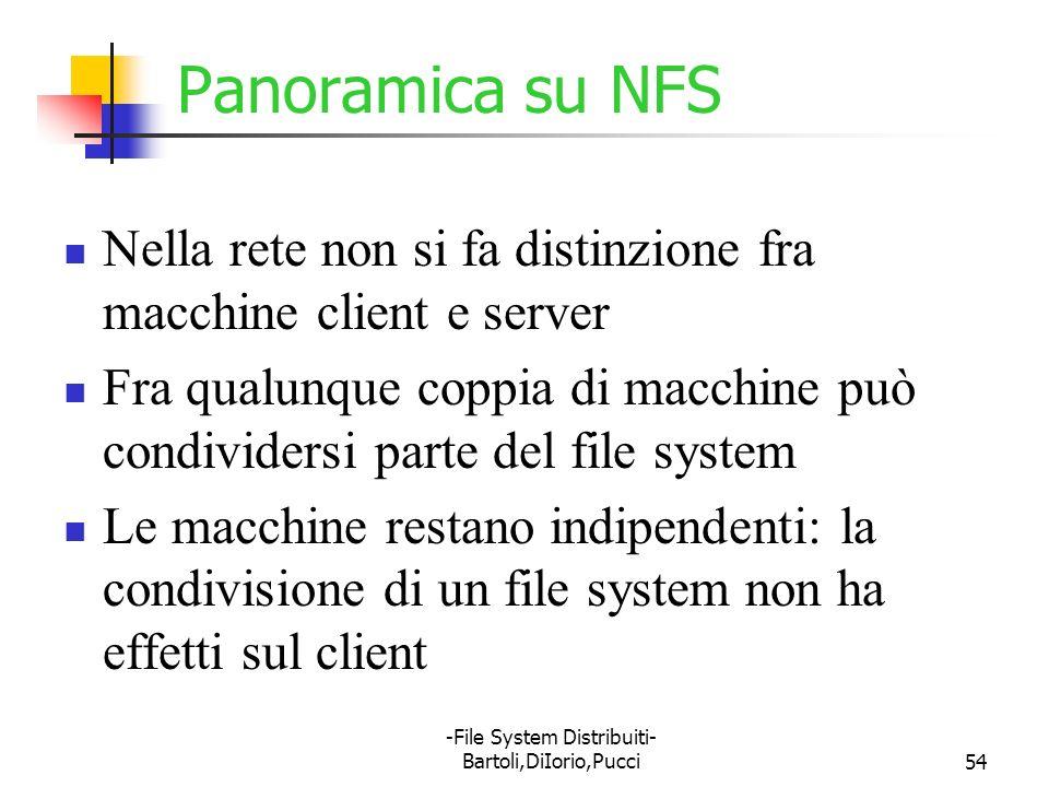 -File System Distribuiti- Bartoli,DiIorio,Pucci54 Panoramica su NFS Nella rete non si fa distinzione fra macchine client e server Fra qualunque coppia