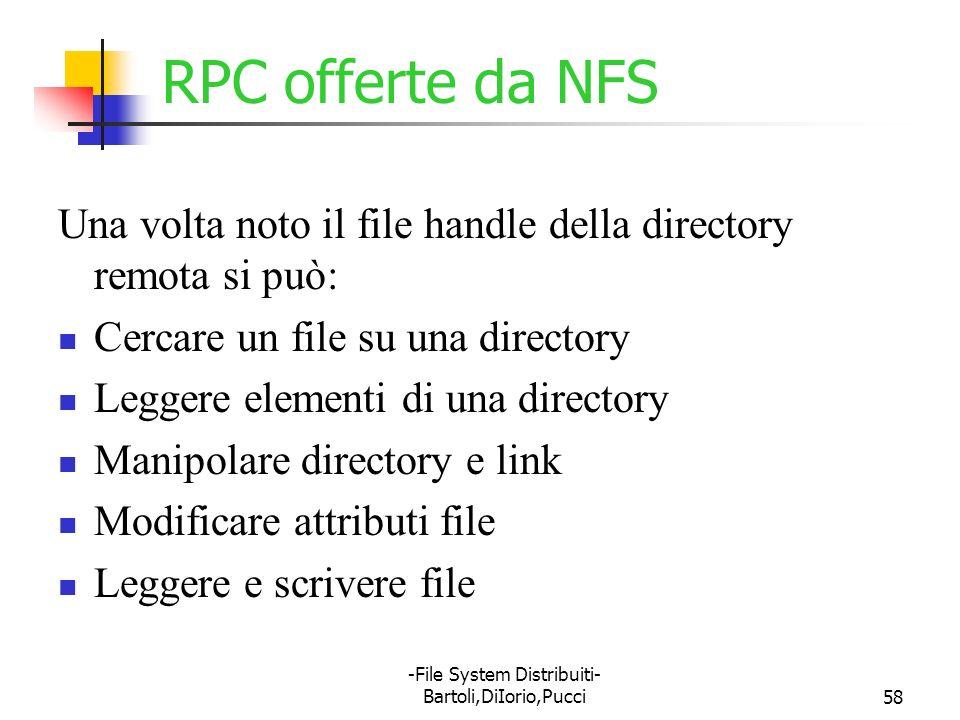 -File System Distribuiti- Bartoli,DiIorio,Pucci58 RPC offerte da NFS Una volta noto il file handle della directory remota si può: Cercare un file su u