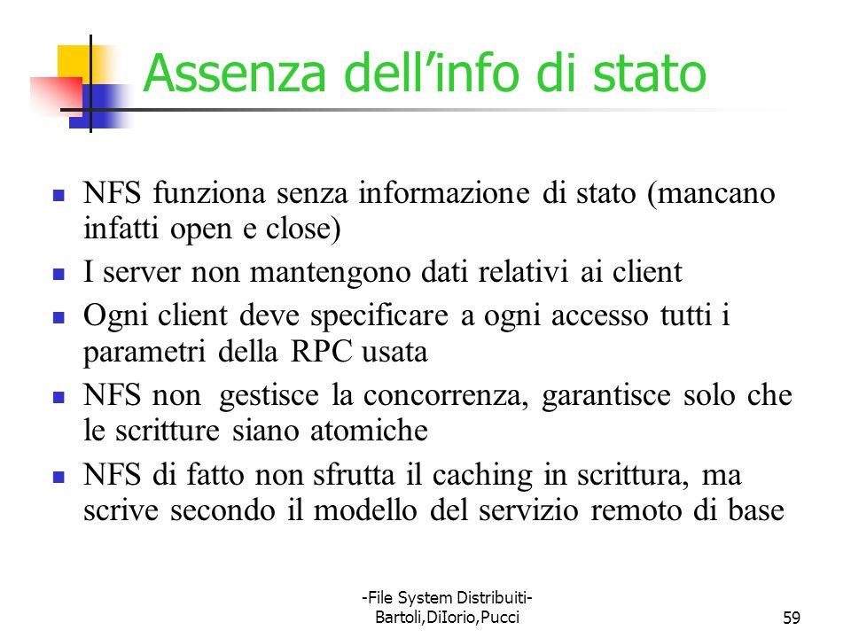 -File System Distribuiti- Bartoli,DiIorio,Pucci59 Assenza dellinfo di stato NFS funziona senza informazione di stato (mancano infatti open e close) I