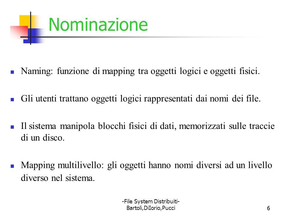 -File System Distribuiti- Bartoli,DiIorio,Pucci6 Nominazione Naming: funzione di mapping tra oggetti logici e oggetti fisici. Gli utenti trattano ogge
