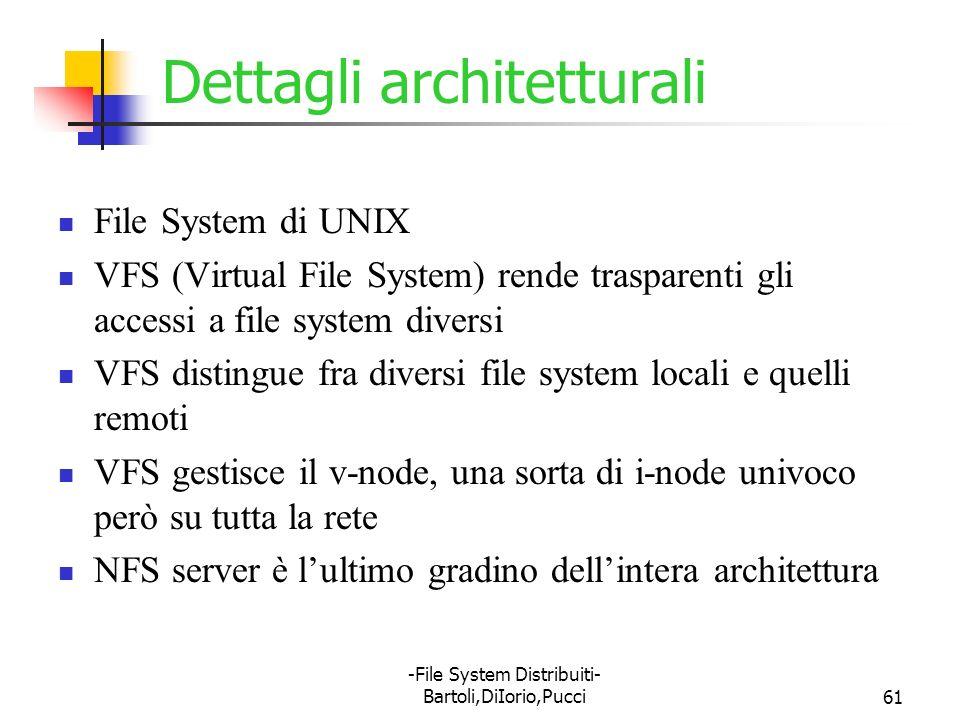 -File System Distribuiti- Bartoli,DiIorio,Pucci61 Dettagli architetturali File System di UNIX VFS (Virtual File System) rende trasparenti gli accessi