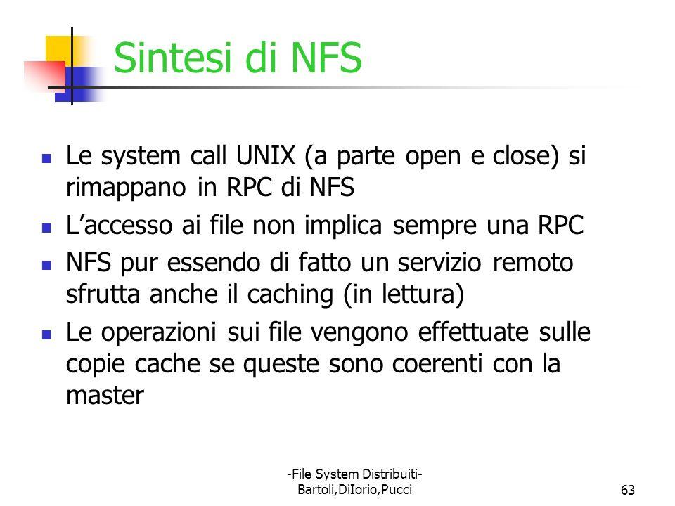 -File System Distribuiti- Bartoli,DiIorio,Pucci63 Sintesi di NFS Le system call UNIX (a parte open e close) si rimappano in RPC di NFS Laccesso ai fil