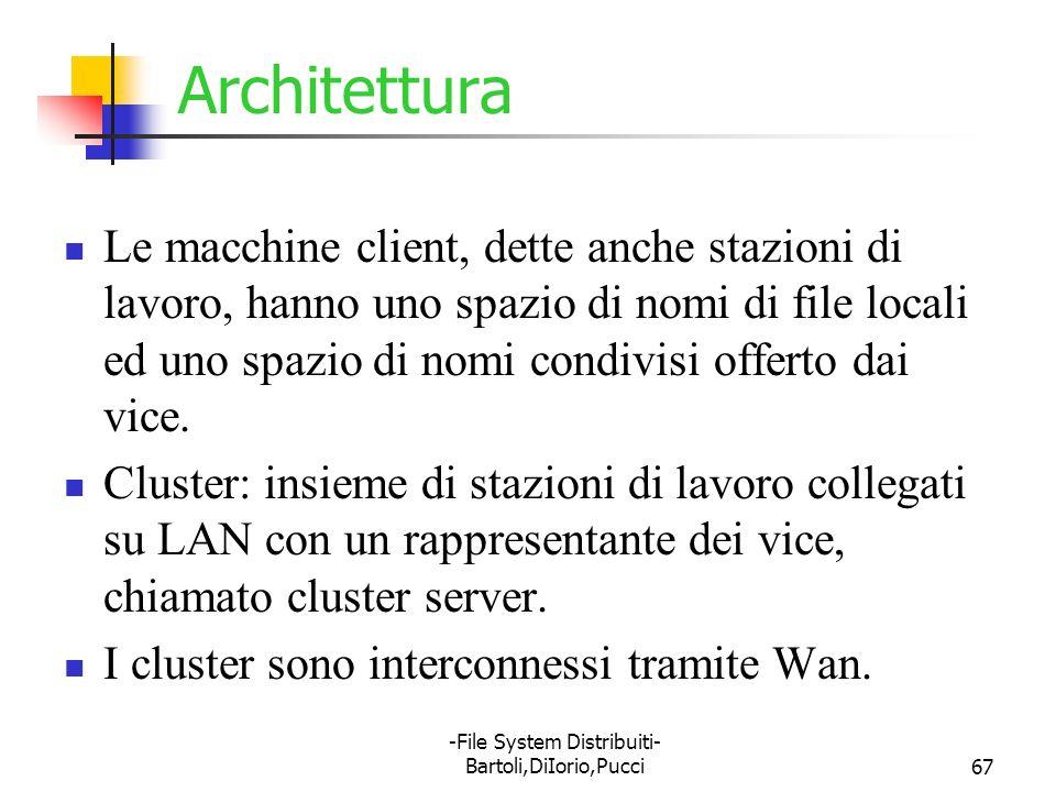 -File System Distribuiti- Bartoli,DiIorio,Pucci67 Architettura Le macchine client, dette anche stazioni di lavoro, hanno uno spazio di nomi di file lo