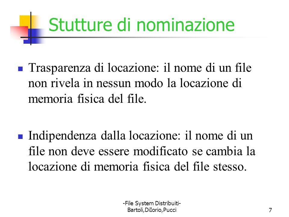 -File System Distribuiti- Bartoli,DiIorio,Pucci8 Mapping dinamico e strutture di nominazione Il mapping dinamico è uno schema di nominazione indipendente dalla locazione, in quanto può mappare lo stesso nome di file su locazione diverse in due momenti diversi.