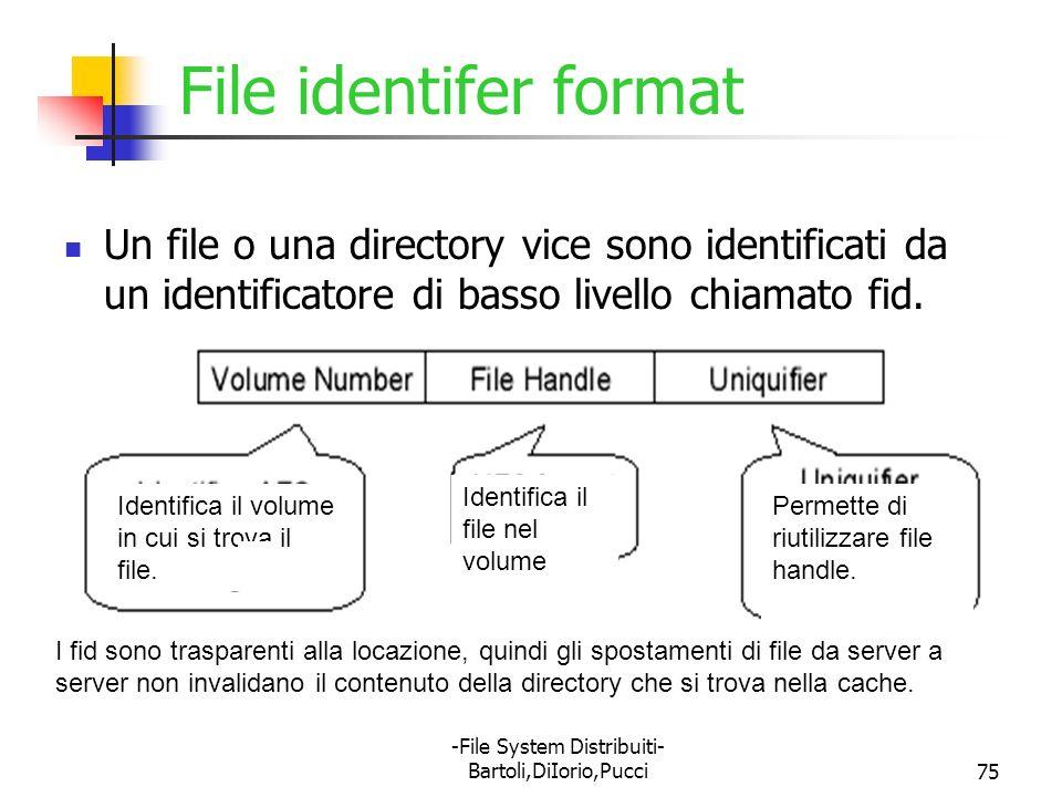 -File System Distribuiti- Bartoli,DiIorio,Pucci75 File identifer format Un file o una directory vice sono identificati da un identificatore di basso l