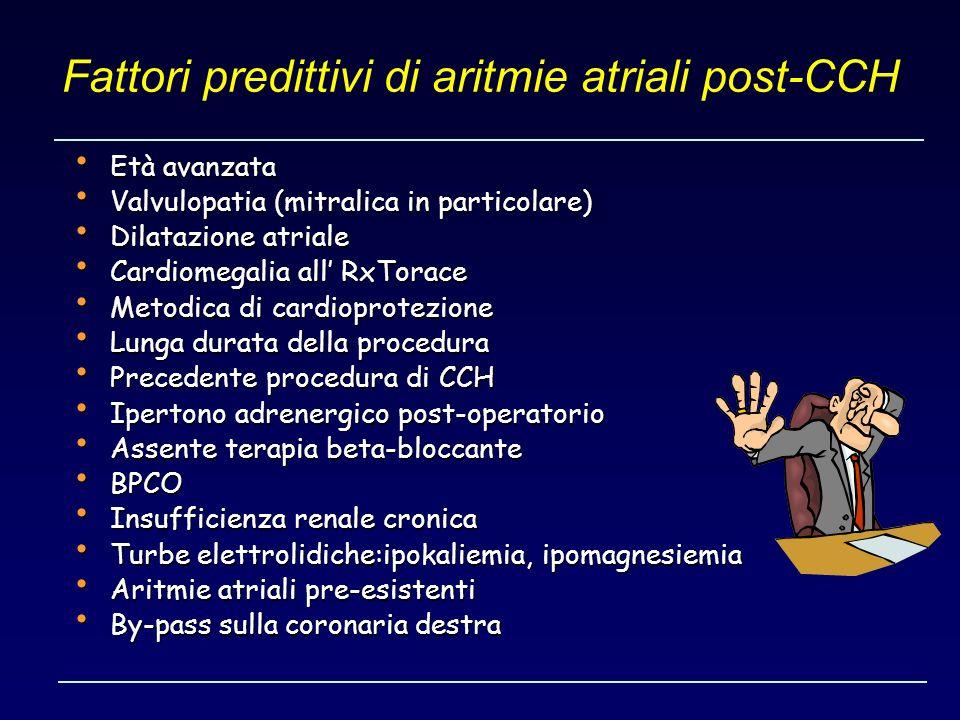 Fattori predittivi di aritmie atriali post-CCH Età avanzata Età avanzata Valvulopatia (mitralica in particolare) Valvulopatia (mitralica in particolar