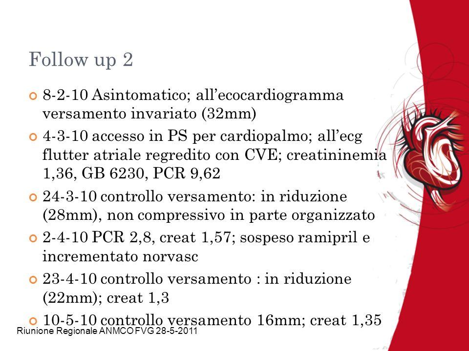 Riunione Regionale ANMCO FVG 28-5-2011 Follow up 2 8-2-10 Asintomatico; allecocardiogramma versamento invariato (32mm) 4-3-10 accesso in PS per cardio