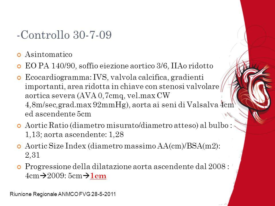 Riunione Regionale ANMCO FVG 28-5-2011 -Controllo 30-7-09 Asintomatico EO PA 140/90, soffio eiezione aortico 3/6, IIAo ridotto Ecocardiogramma: IVS, v