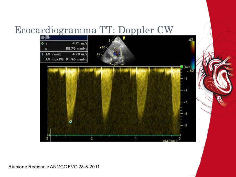 Riunione Regionale ANMCO FVG 28-5-2011 Approfondimenti per valutazione anatomia valvolare e aorta ascendente Ecocardiogramma transesofageo: rifiutato 30-9-09 Risonanza magnetica: valvola aortica bicuspide, diametro giunzione ST 3,8cm, ascendente 5cm, arco 2,8cm discendente prossimale 2,8cm e distale 2,2cm Discusso a lungo con il paziente e accettato percorso cardiochirurgico Caso presentato al cardiochirurgo ed accettato