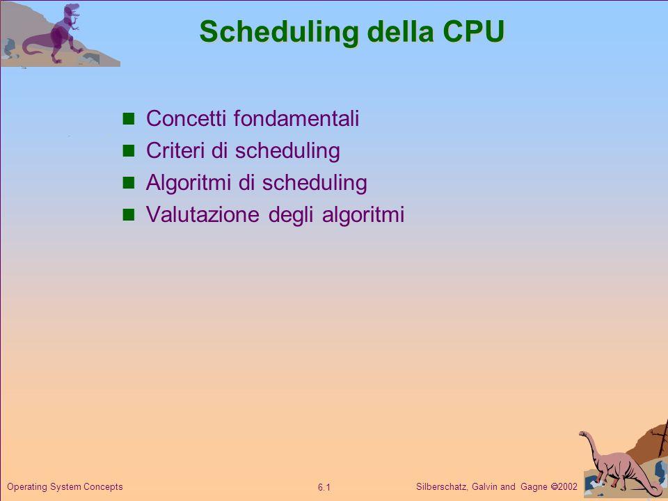 Silberschatz, Galvin and Gagne 2002 6.2 Operating System Concepts Concetti fondamentali Il massimo impiego della CPU è ottenuto con la multiprogrammazione.