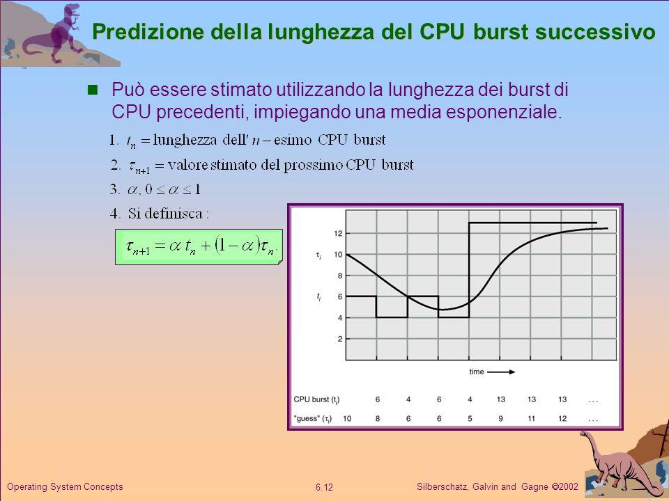 Silberschatz, Galvin and Gagne 2002 6.12 Operating System Concepts Predizione della lunghezza del CPU burst successivo Può essere stimato utilizzando