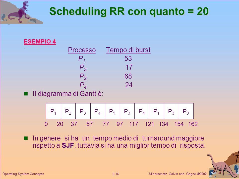 Silberschatz, Galvin and Gagne 2002 6.16 Operating System Concepts Scheduling RR con quanto = 20 ESEMPIO 4 ProcessoTempo di burst P 1 53 P 2 17 P 3 68