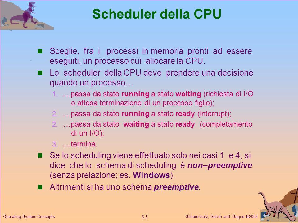 Silberschatz, Galvin and Gagne 2002 6.3 Operating System Concepts Scheduler della CPU Sceglie, fra i processi in memoria pronti ad essere eseguiti, un