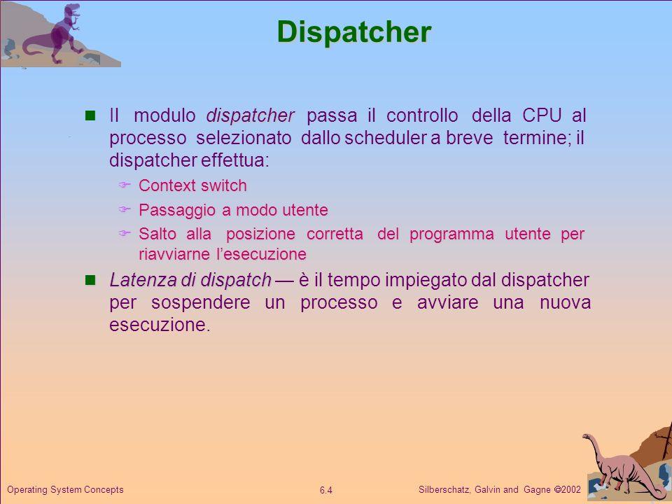 Silberschatz, Galvin and Gagne 2002 6.4 Operating System ConceptsDispatcher dispatcher Il modulo dispatcher passa il controllo della CPU al processo s