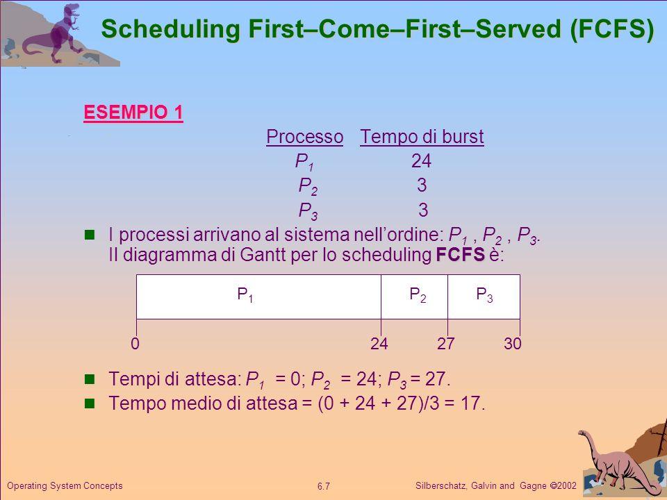 Silberschatz, Galvin and Gagne 2002 6.8 Operating System Concepts Scheduling FCFS Se lordine di arrivo è P 2, P 3, P 1, il diagramma di Gantt risulta… Tempi di attesa: P 1 = 6; P 2 = 0; P 3 = 3.