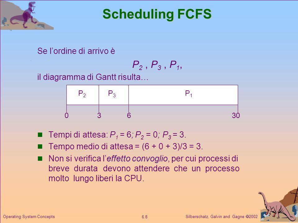 Silberschatz, Galvin and Gagne 2002 6.8 Operating System Concepts Scheduling FCFS Se lordine di arrivo è P 2, P 3, P 1, il diagramma di Gantt risulta…