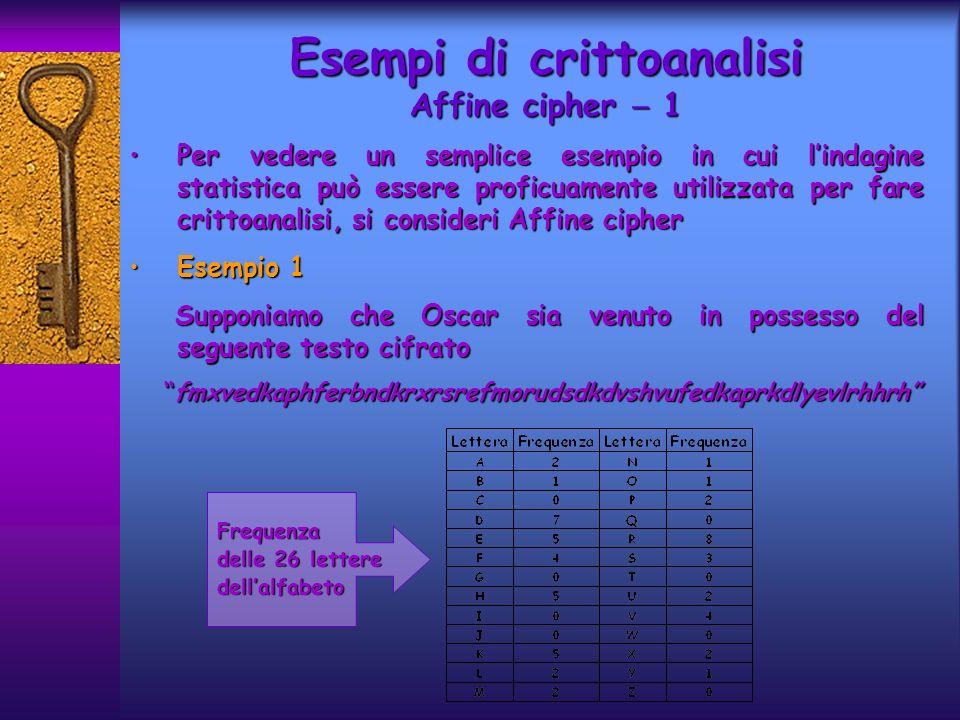 Vi sono soltanto 57 caratteri nel testo cifrato, ma sono sufficienti per crittoanalizzare Affine cipherVi sono soltanto 57 caratteri nel testo cifrato, ma sono sufficienti per crittoanalizzare Affine cipher I caratteri cifrati più frequenti sono R (8 occorrenze), D (7), E,H,K (5) ed F,S,V (4)I caratteri cifrati più frequenti sono R (8 occorrenze), D (7), E,H,K (5) ed F,S,V (4) In prima istanza si può ipotizzare che R codifichi e, D la lettera t; numericamente, e k (4)=17, e k (19)=3In prima istanza si può ipotizzare che R codifichi e, D la lettera t; numericamente, e k (4)=17, e k (19)=3 Ricordando che e k (x)=ax+b, si ottiene un sistema lineare di due equazioni in due incogniteRicordando che e k (x)=ax+b, si ottiene un sistema lineare di due equazioni in due incognite 4a +b =17 19a +b =3 che ha come unica soluzione a =6 e b =19: illegale poichè che ha come unica soluzione a =6 e b =19: illegale poichè MCD(a,26)=2 IPOTESI ERRATA MCD(a,26)=2 IPOTESI ERRATA { Esempi di crittoanalisi Affine cipher 2