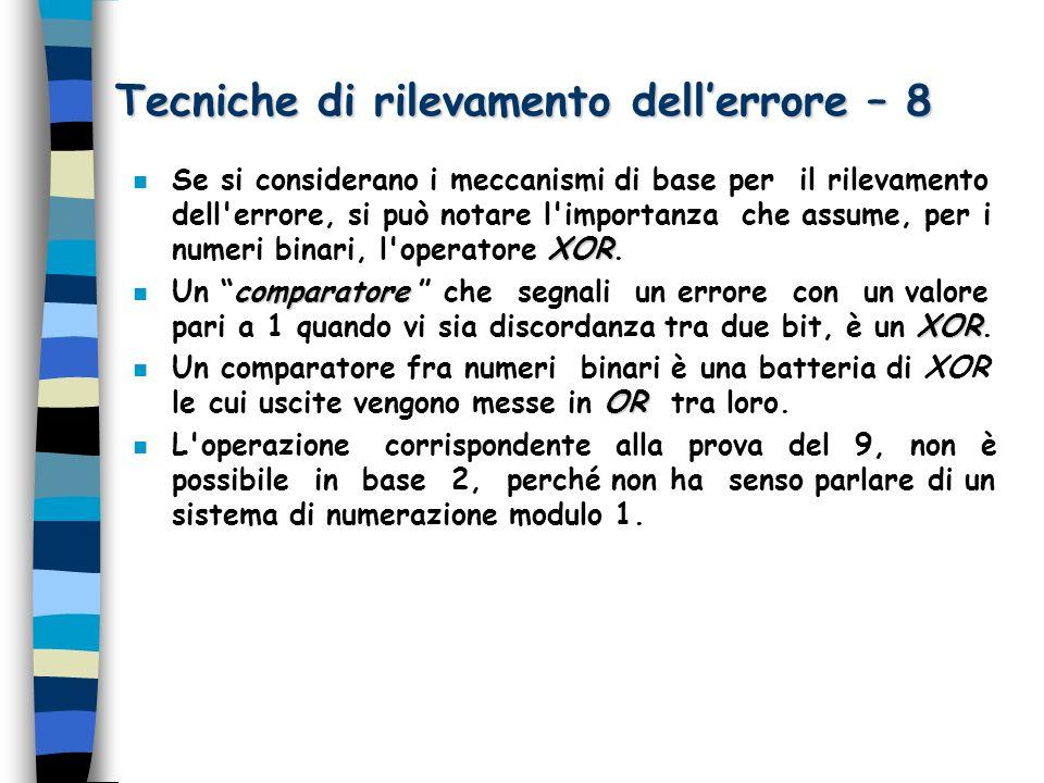 Tecniche di rilevamento dellerrore – 8 XOR n Se si considerano i meccanismi di base per il rilevamento dell'errore, si può notare l'importanza che ass