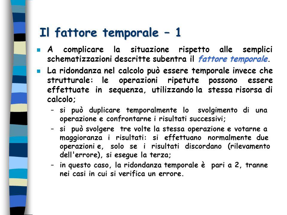 Il fattore temporale – 1 fattore temporale n A complicare la situazione rispetto alle semplici schematizzazioni descritte subentra il fattore temporal