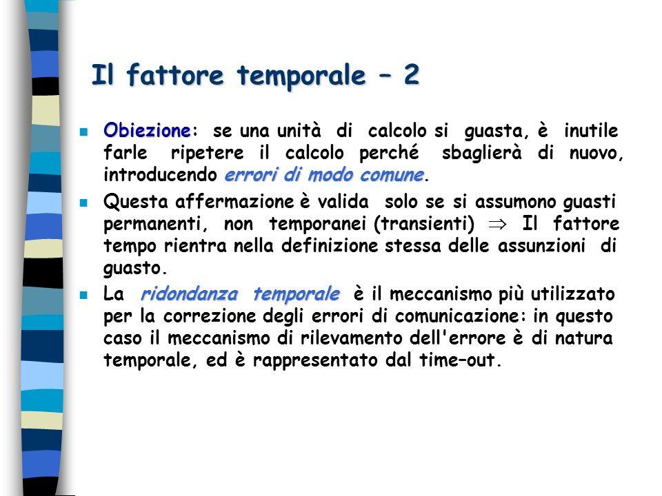 Il fattore temporale – 2 n Obiezione errori di modo comune n Obiezione: se una unità di calcolo si guasta, è inutile farle ripetere il calcolo perché