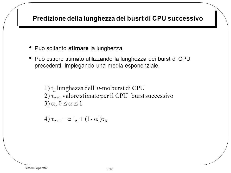 5.12 Sistemi operativi Predizione della lunghezza del busrt di CPU successivo Può soltanto stimare la lunghezza. Può essere stimato utilizzando la lun