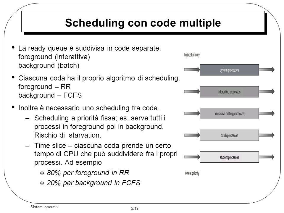 5.19 Sistemi operativi Scheduling con code multiple La ready queue è suddivisa in code separate: foreground (interattiva) background (batch) Ciascuna