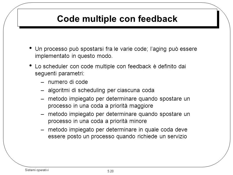 5.20 Sistemi operativi Code multiple con feedback Un processo può spostarsi fra le varie code; laging può essere implementato in questo modo. Lo sched