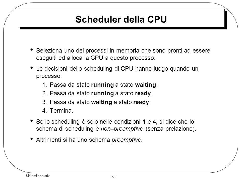5.3 Sistemi operativi Scheduler della CPU Seleziona uno dei processi in memoria che sono pronti ad essere eseguiti ed alloca la CPU a questo processo.