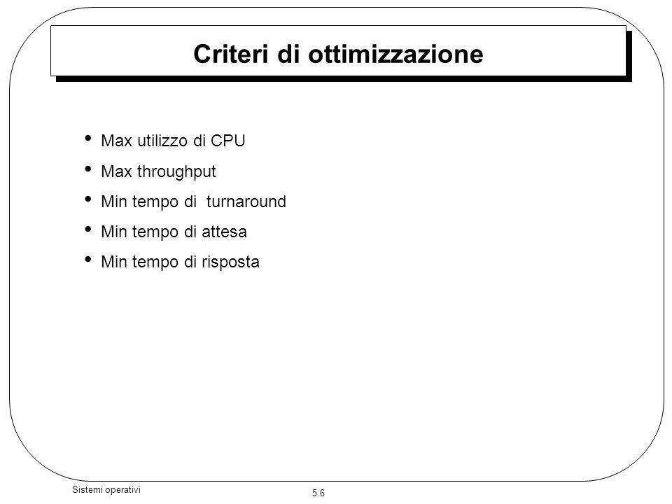 5.6 Sistemi operativi Criteri di ottimizzazione Max utilizzo di CPU Max throughput Min tempo di turnaround Min tempo di attesa Min tempo di risposta