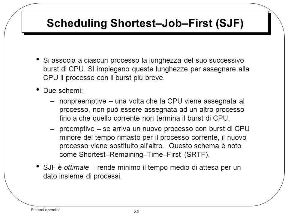 5.9 Sistemi operativi Scheduling Shortest–Job–First (SJF) Si associa a ciascun processo la lunghezza del suo successivo burst di CPU. SI impiegano que