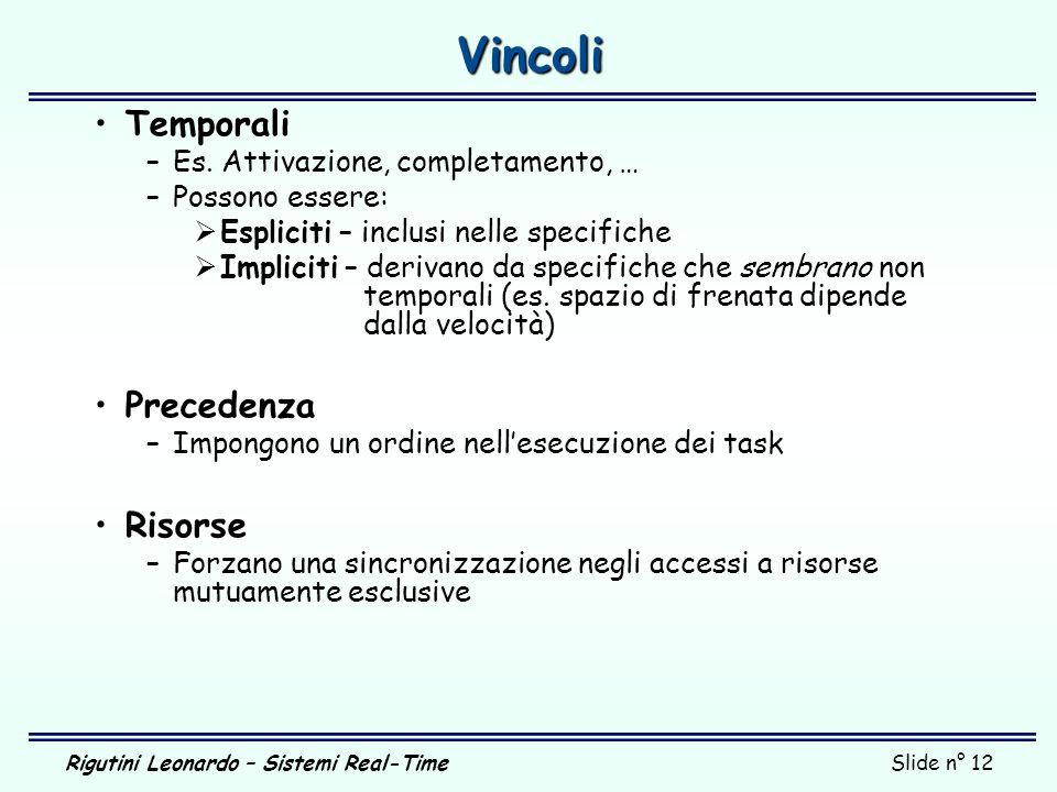 Rigutini Leonardo – Sistemi Real-TimeSlide n° 12 Vincoli Temporali –Es. Attivazione, completamento, … –Possono essere: Espliciti – inclusi nelle speci