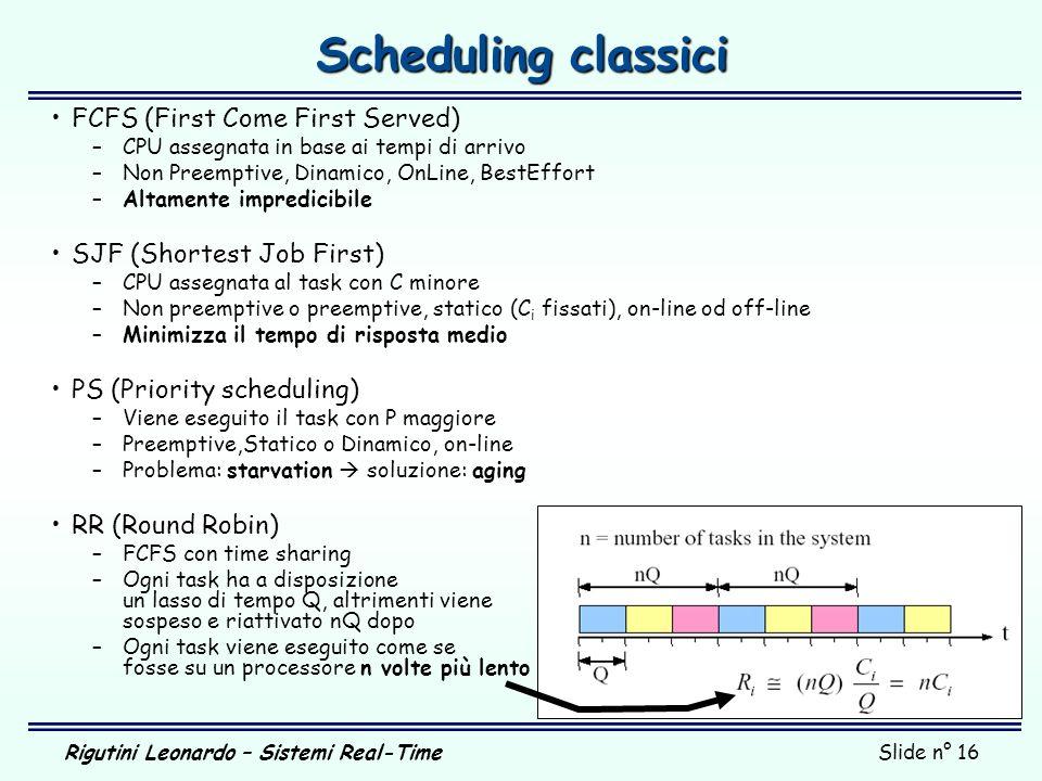 Rigutini Leonardo – Sistemi Real-TimeSlide n° 16 Scheduling classici FCFS (First Come First Served) –CPU assegnata in base ai tempi di arrivo –Non Pre