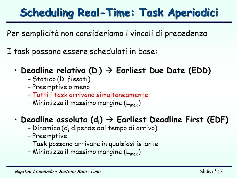 Rigutini Leonardo – Sistemi Real-TimeSlide n° 17 Scheduling Real-Time: Task Aperiodici Per semplicità non consideriamo i vincoli di precedenza I task