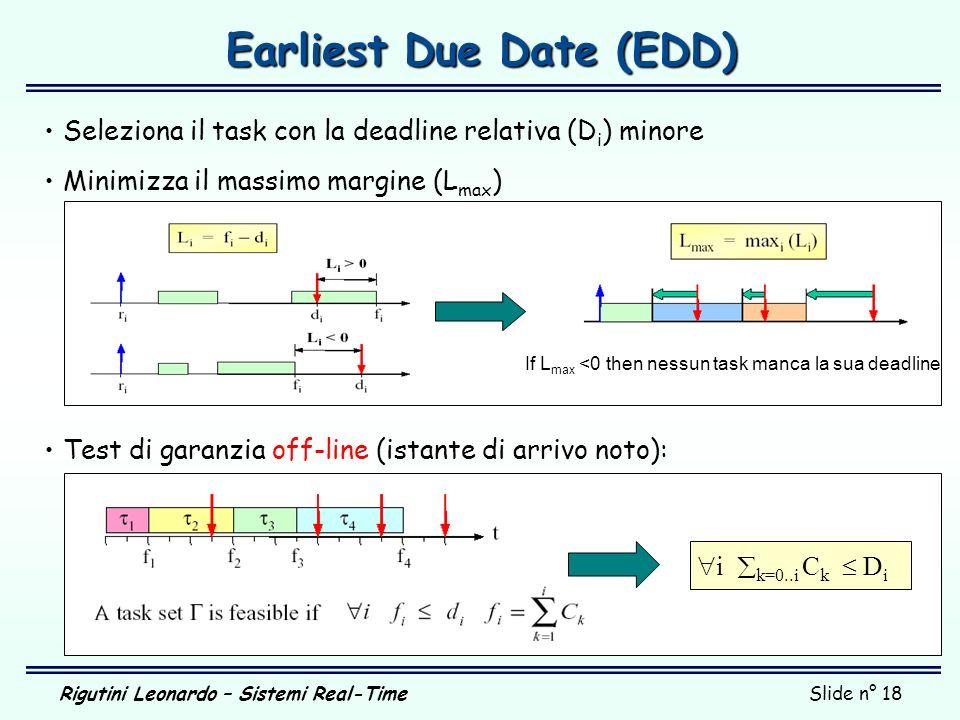 Rigutini Leonardo – Sistemi Real-TimeSlide n° 18 Earliest Due Date (EDD) Seleziona il task con la deadline relativa (D i ) minore Minimizza il massimo
