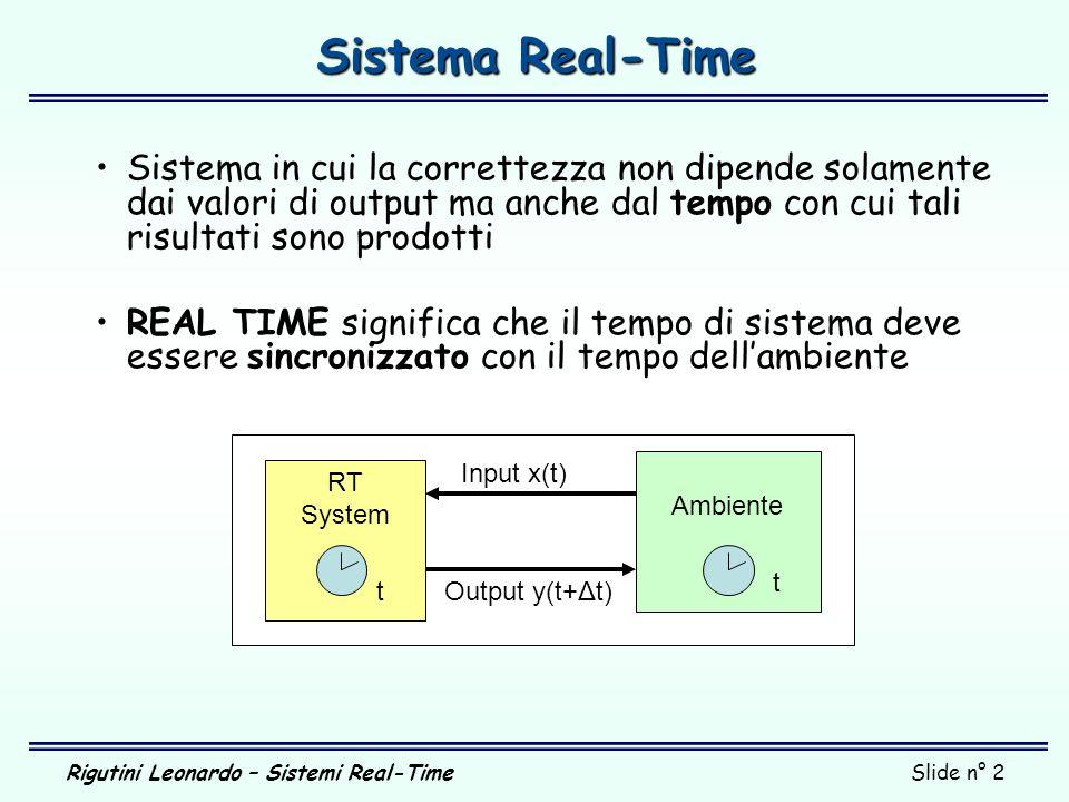 Rigutini Leonardo – Sistemi Real-TimeSlide n° 2 Ambiente Sistema Real-Time Sistema in cui la correttezza non dipende solamente dai valori di output ma