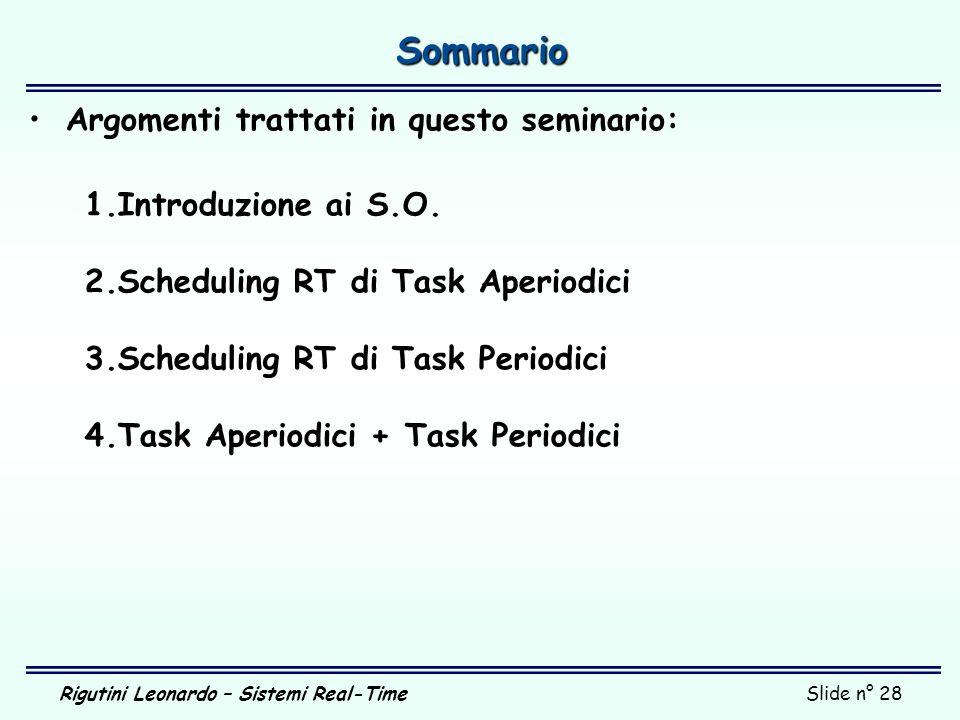 Rigutini Leonardo – Sistemi Real-TimeSlide n° 28 Sommario Argomenti trattati in questo seminario: 1.Introduzione ai S.O. 2.Scheduling RT di Task Aperi