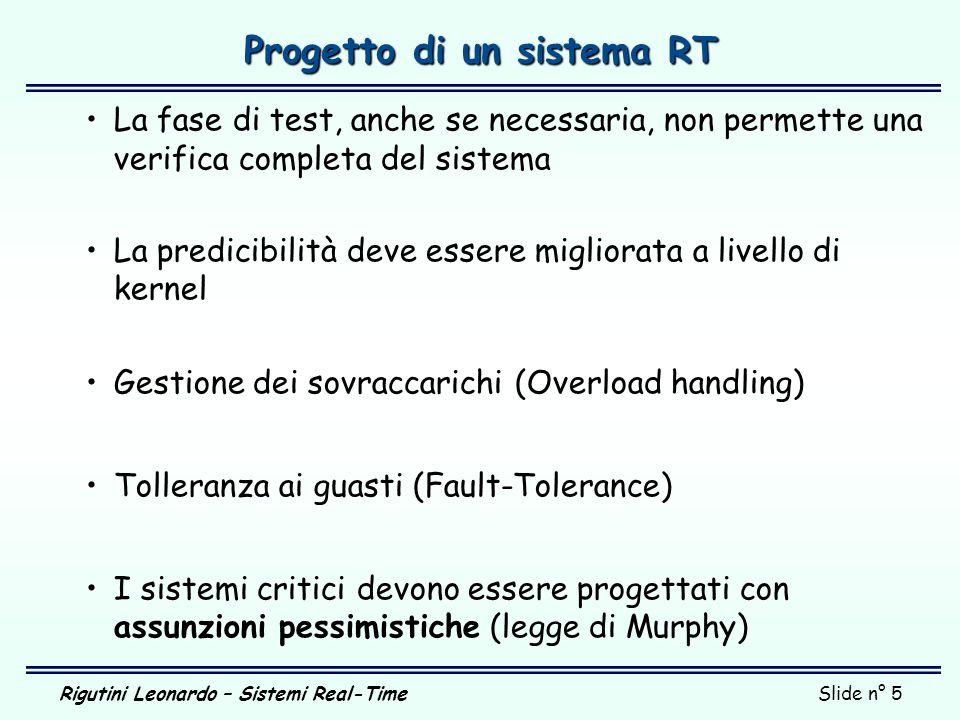 Rigutini Leonardo – Sistemi Real-TimeSlide n° 5 Progetto di un sistema RT La fase di test, anche se necessaria, non permette una verifica completa del