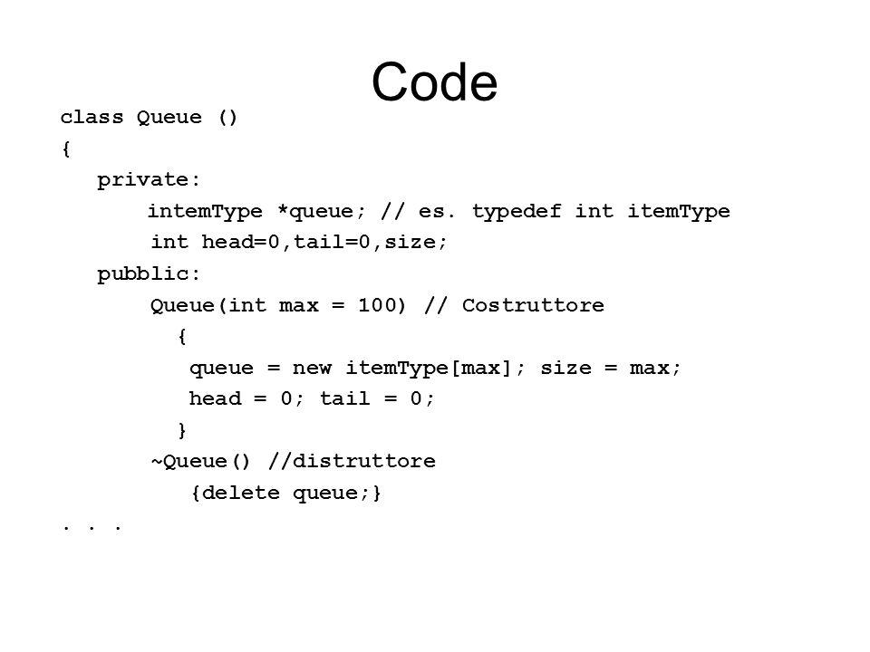 Code class Queue () { private: intemType *queue; // es. typedef int itemType int head=0,tail=0,size; pubblic: Queue(int max = 100) // Costruttore { qu