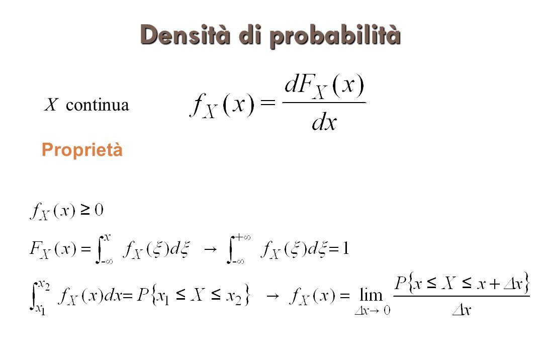 Densità di probabilità marginali Se X e Y sono continue, si hanno le densità di probabilità marginali: In base alla formula delle d.p.