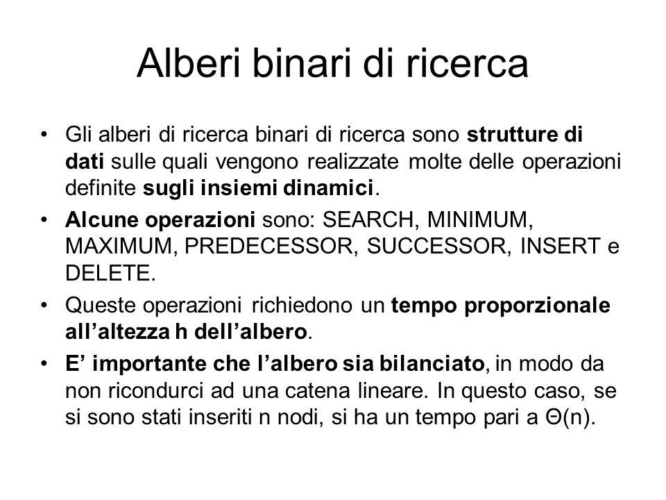 Alberi binari di ricerca Gli alberi di ricerca binari di ricerca sono strutture di dati sulle quali vengono realizzate molte delle operazioni definite