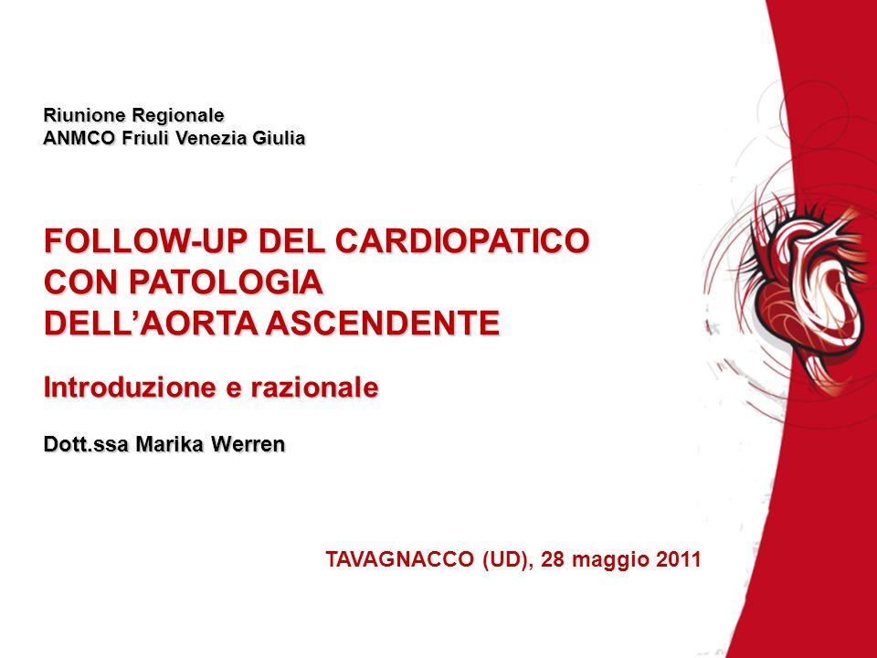 Riunione Regionale ANMCO Friuli Venezia Giulia FOLLOW-UP DEL CARDIOPATICO CON PATOLOGIA DELLAORTA ASCENDENTE Introduzione e razionale Dott.ssa Marika