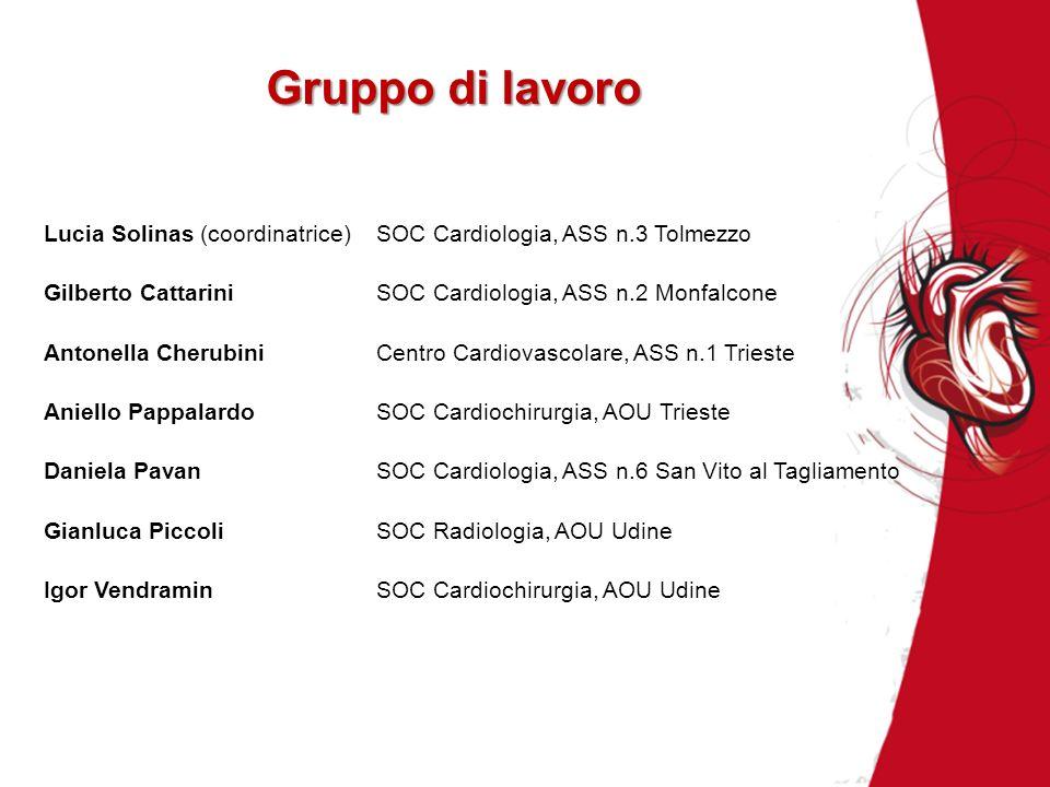 Gruppo di lavoro Lucia Solinas (coordinatrice)SOC Cardiologia, ASS n.3 Tolmezzo Gilberto CattariniSOC Cardiologia, ASS n.2 Monfalcone Antonella Cherub