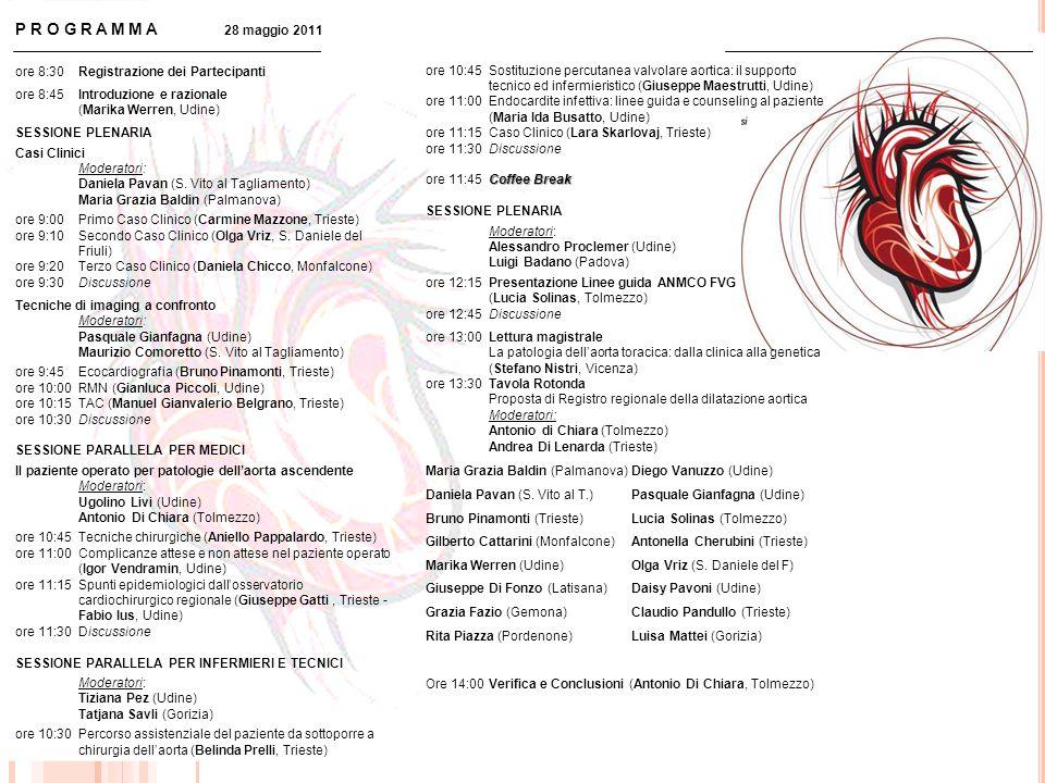 ore 8:30Registrazione dei Partecipanti ore 8:45Introduzione e razionale (Marika Werren, Udine) SESSIONE PLENARIA Casi Clinici Moderatori: Daniela Pava