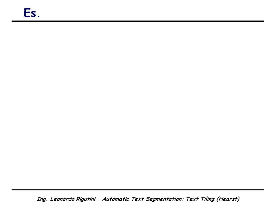 Ing. Leonardo Rigutini – Automatic Text Segmentation: Text Tiling (Hearst) Es.
