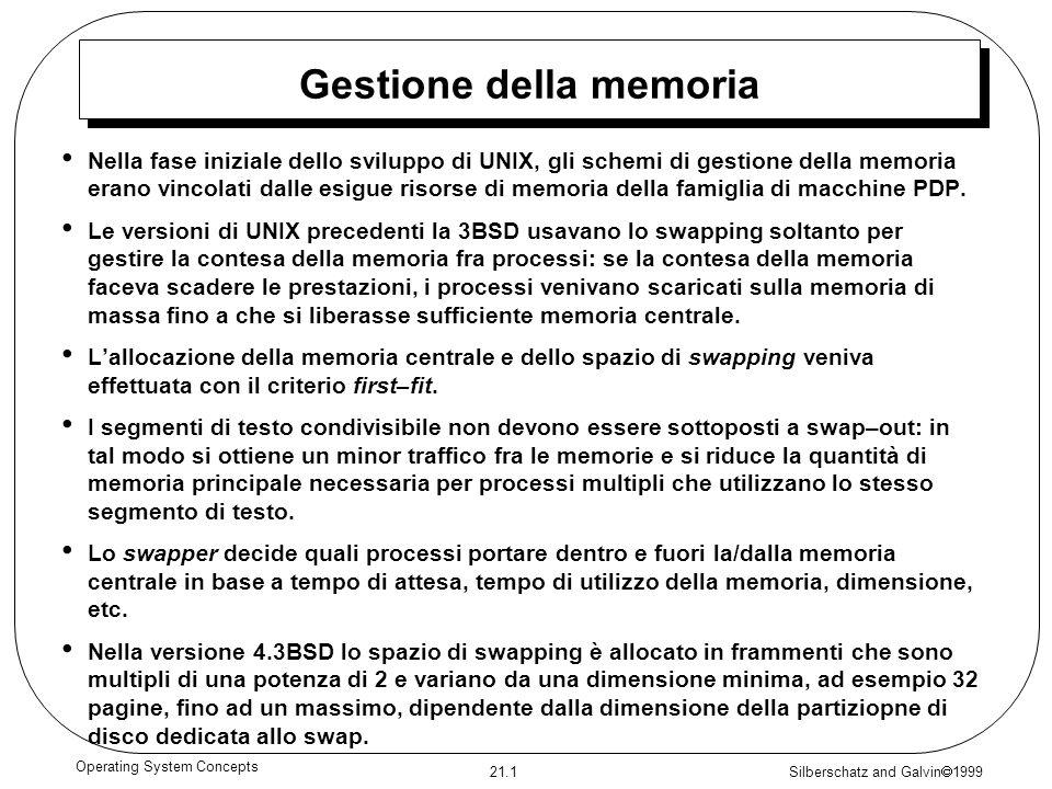 Silberschatz and Galvin 1999 21.1 Operating System Concepts Gestione della memoria Nella fase iniziale dello sviluppo di UNIX, gli schemi di gestione della memoria erano vincolati dalle esigue risorse di memoria della famiglia di macchine PDP.
