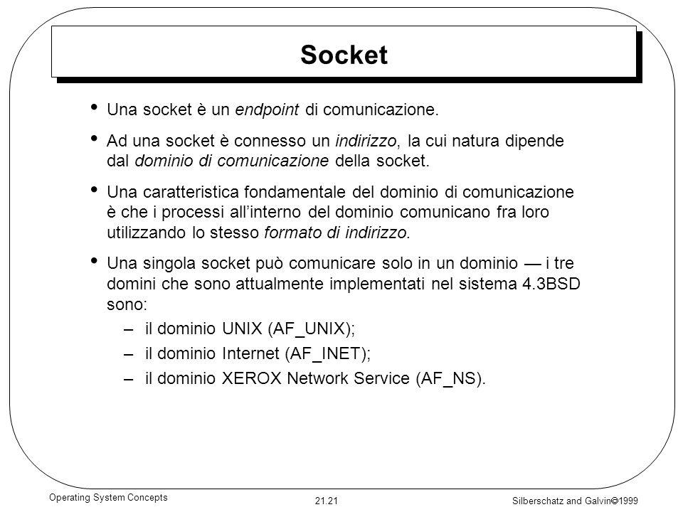 Silberschatz and Galvin 1999 21.21 Operating System Concepts Socket Una socket è un endpoint di comunicazione. Ad una socket è connesso un indirizzo,
