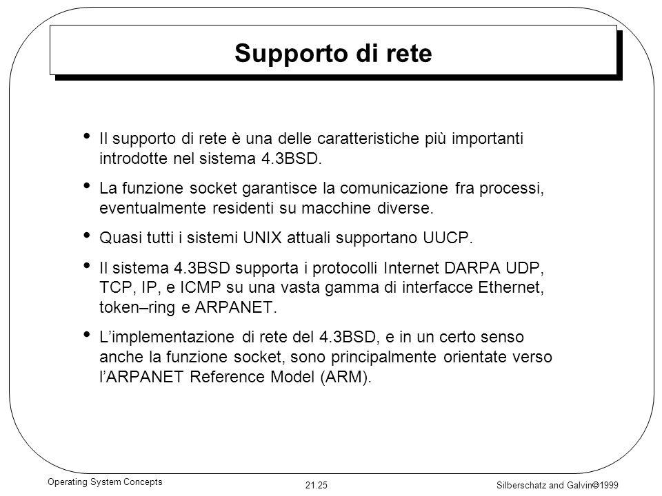 Silberschatz and Galvin 1999 21.25 Operating System Concepts Supporto di rete Il supporto di rete è una delle caratteristiche più importanti introdotte nel sistema 4.3BSD.